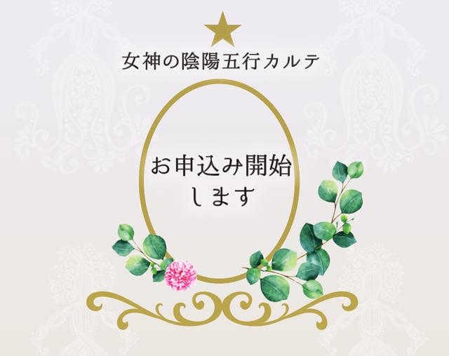 女神の陰陽五行カルテ〜お申込みカートオープンしました☆〜