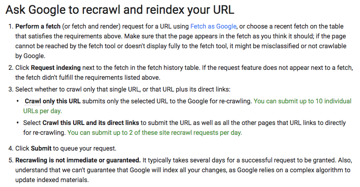 Ask Google to recrawl and reindex your URL