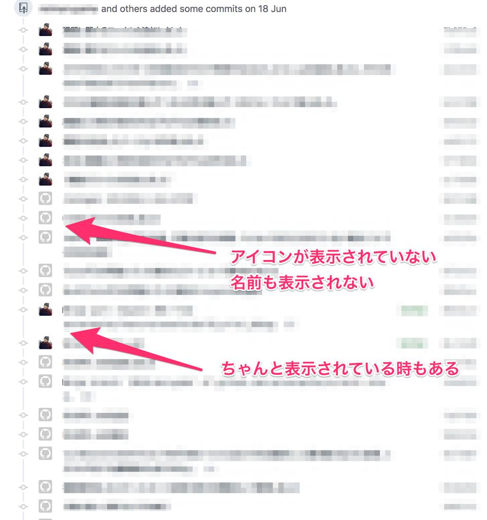 commit履歴のアイコンが正しく表示されず、デフォルトの表示になっている。マウスオーバーしても、ユーザーネームが表示されない。