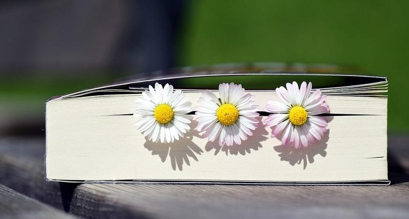 本に挟んである3本の花