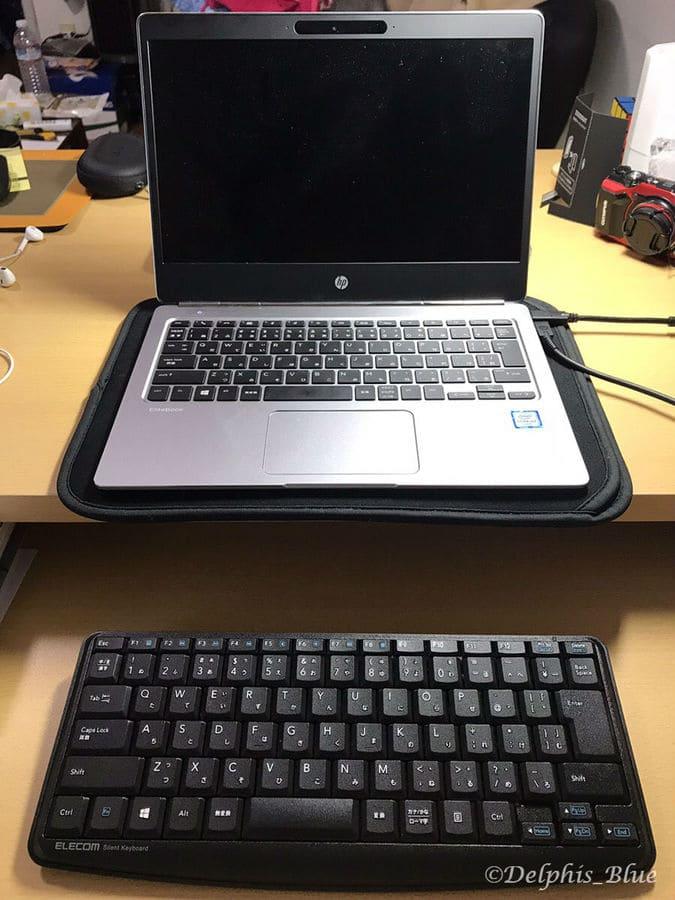 エレコム静音キーボードとノートパソコン