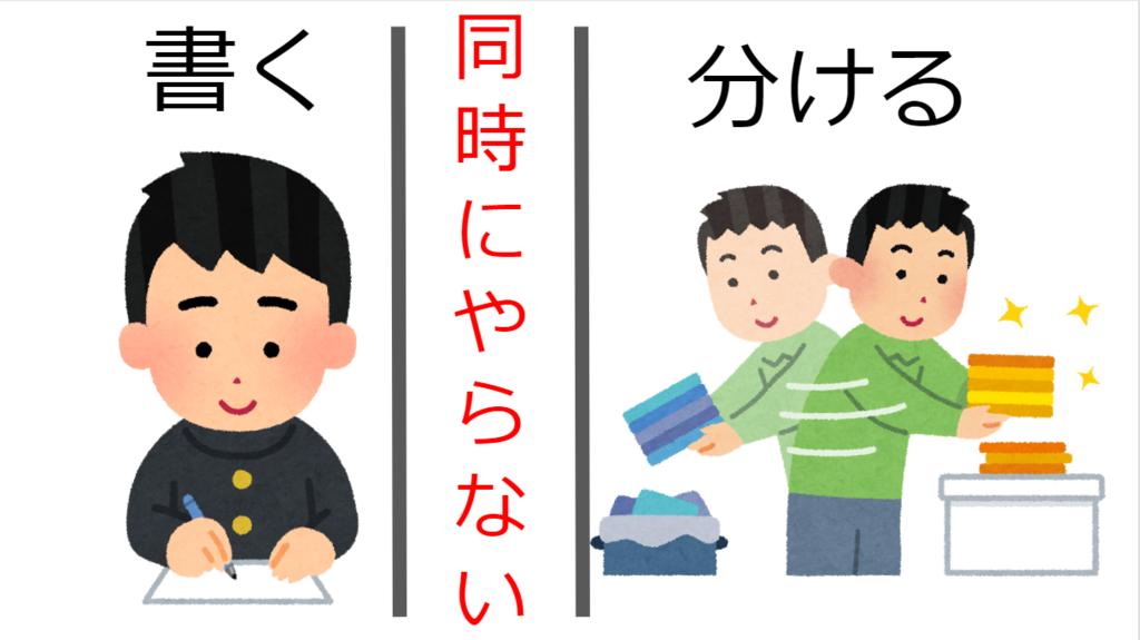 書いている人と分類している人の画像の間に同時にやらないという文字が書かれている図