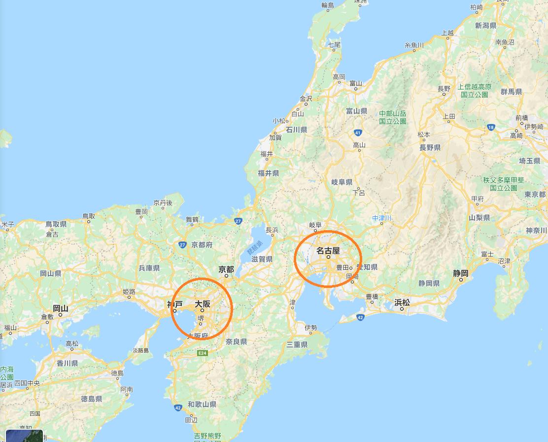 大阪、名古屋に丸が付けられている地図