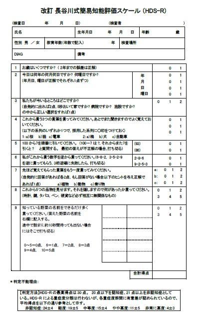 スケール 症 評価 長谷川 認知 式