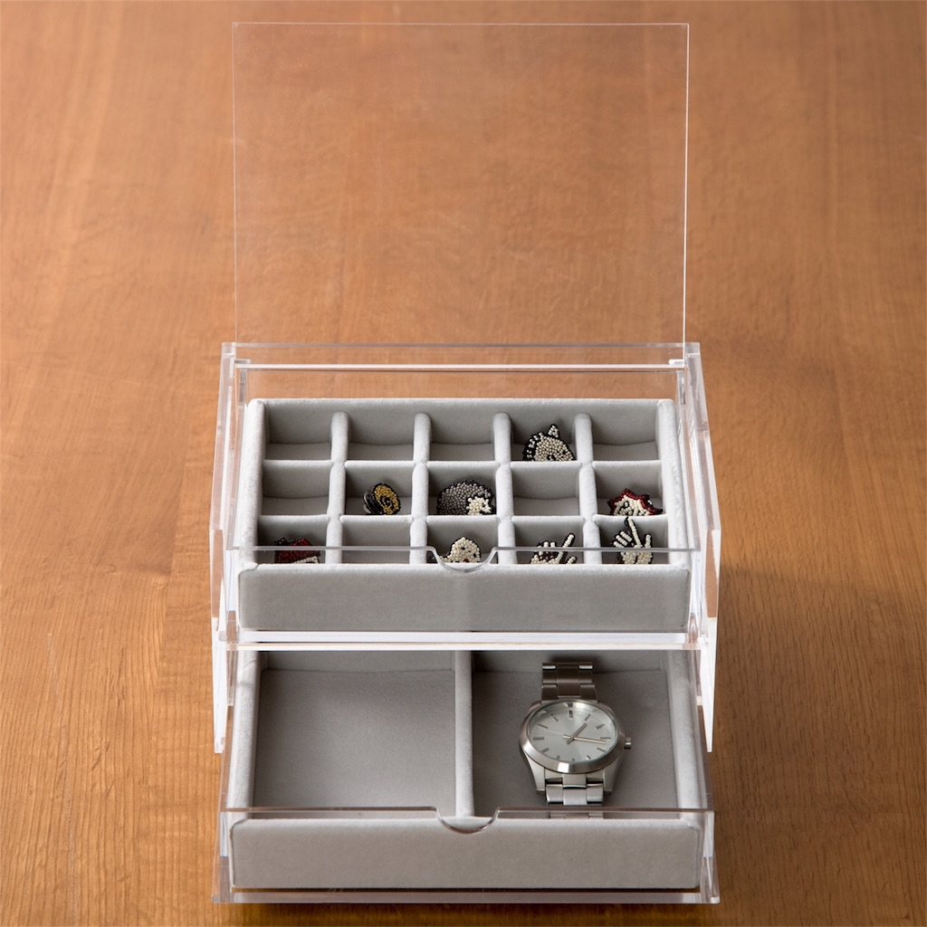 アクセサリー収納用クリアボックスをダイソーと無印良品で比較