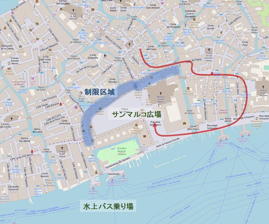 サンマルコ広場の入場規制地図