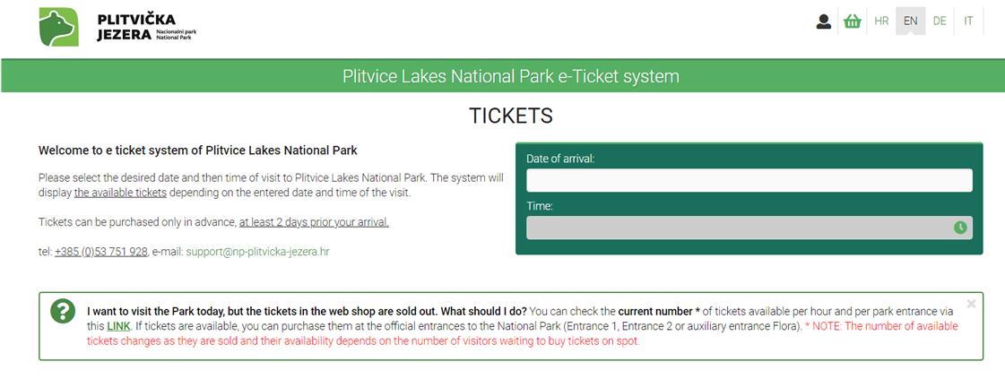 プリトヴィツェ国立公園のチケット購入ページ