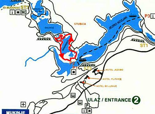 プリトヴィツェ国立公園の地図詳細