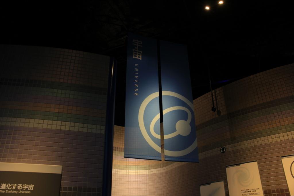 宇宙に関する展示スペースの入口