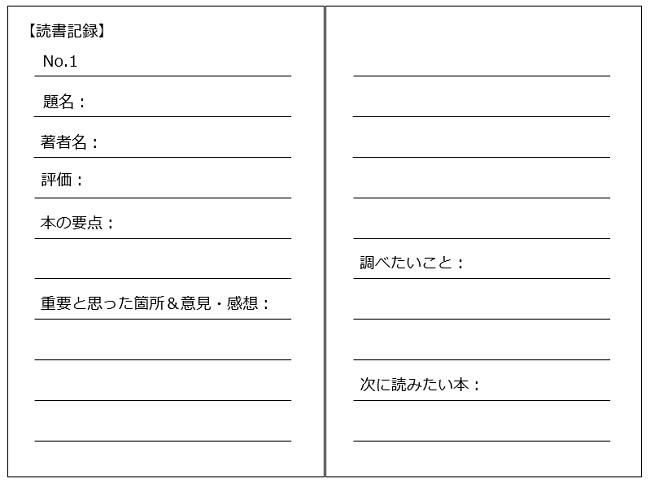 読書ノートのテンプレート 記録