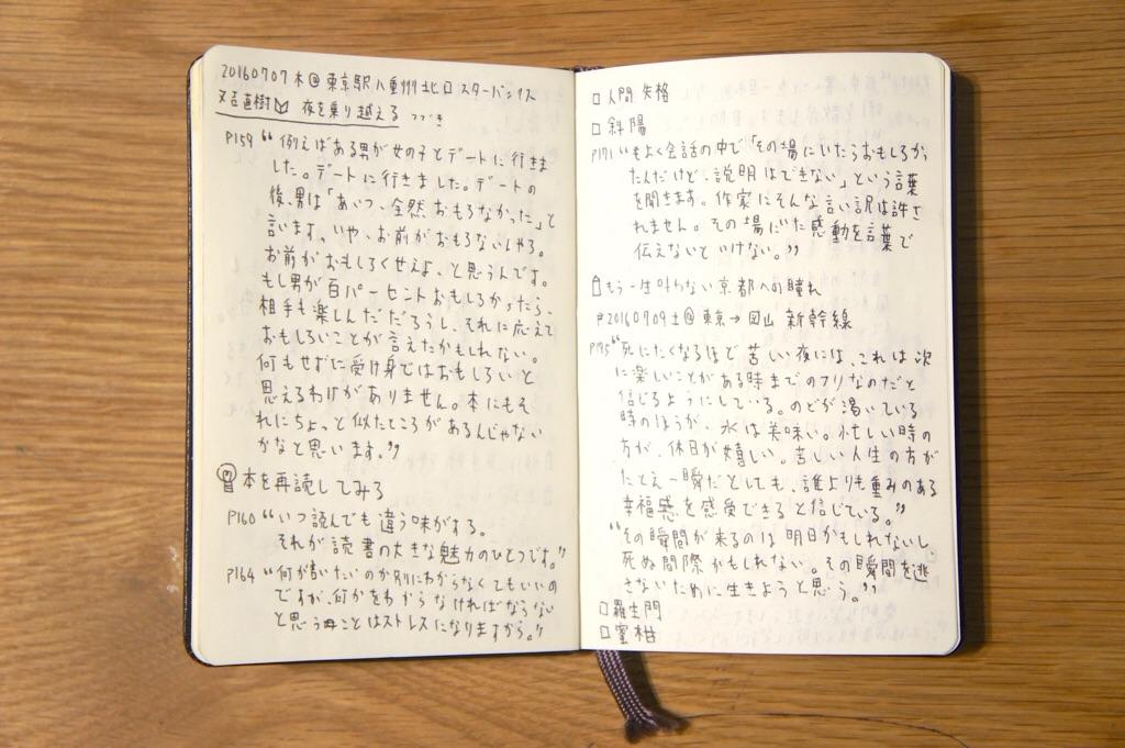 読書ノートとして使っているモレスキンノートの写真