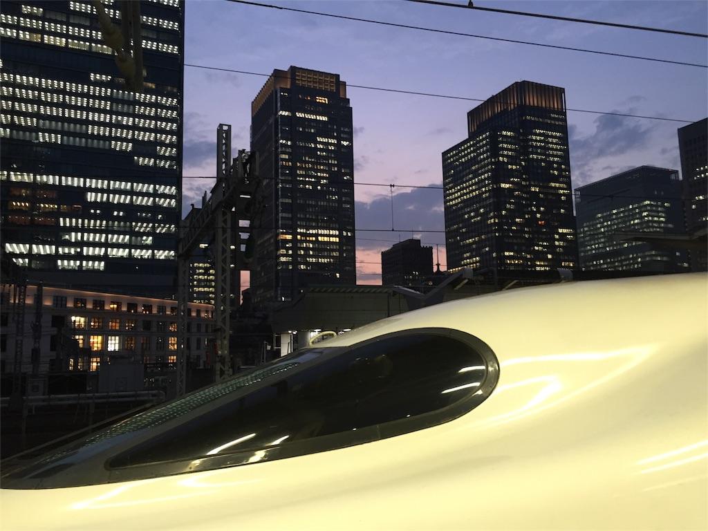 東京駅のホームから見たビル群と新幹線の写真