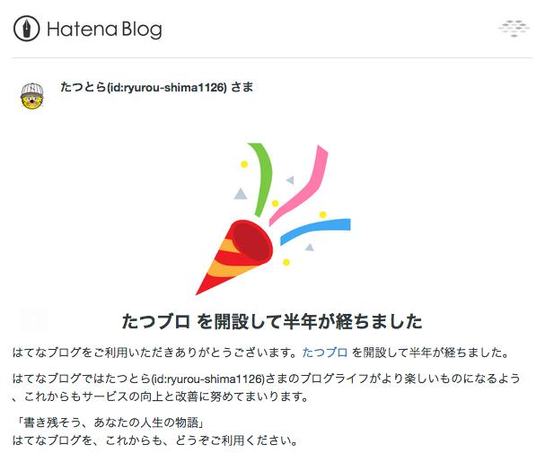 はてなブログからのお祝いのメール