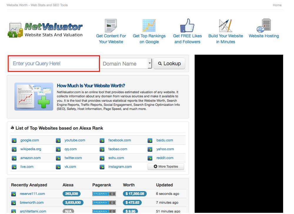 NetValuator」は、サイトのドメイン名を赤枠に入力すればその「サイトの価値」や「PV数」を測る