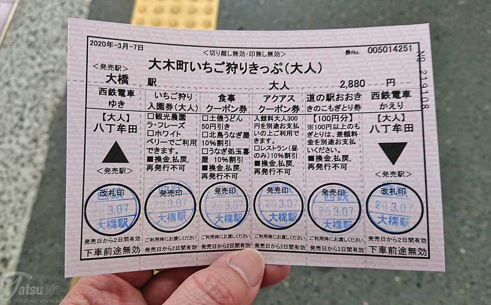 駅の窓口で「大木町いちご狩りきっぷ」を買います。