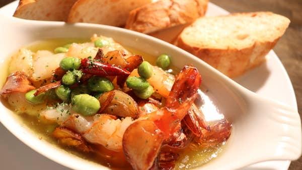 海老と枝豆のアヒージョ