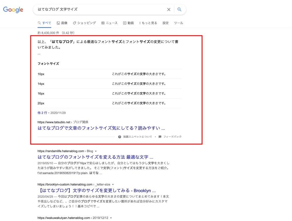 例えば、「はてなブログ 文字サイズ」で検索してみると1番上に表示されています。