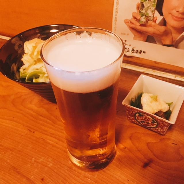 栄にある焼き鳥屋さん東のビール