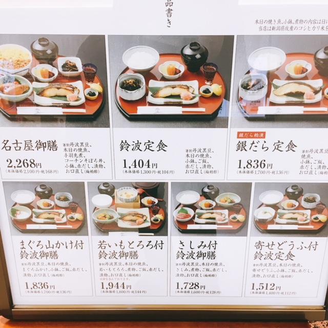 名古屋駅地下街エスカにある魚料理のお店鈴波のメニュー