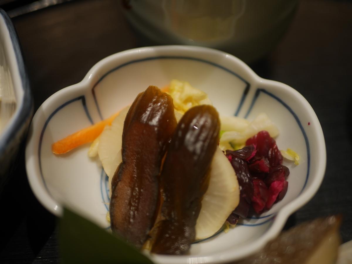 名古屋駅地下街エスカにある魚料理のお店鈴波の漬物