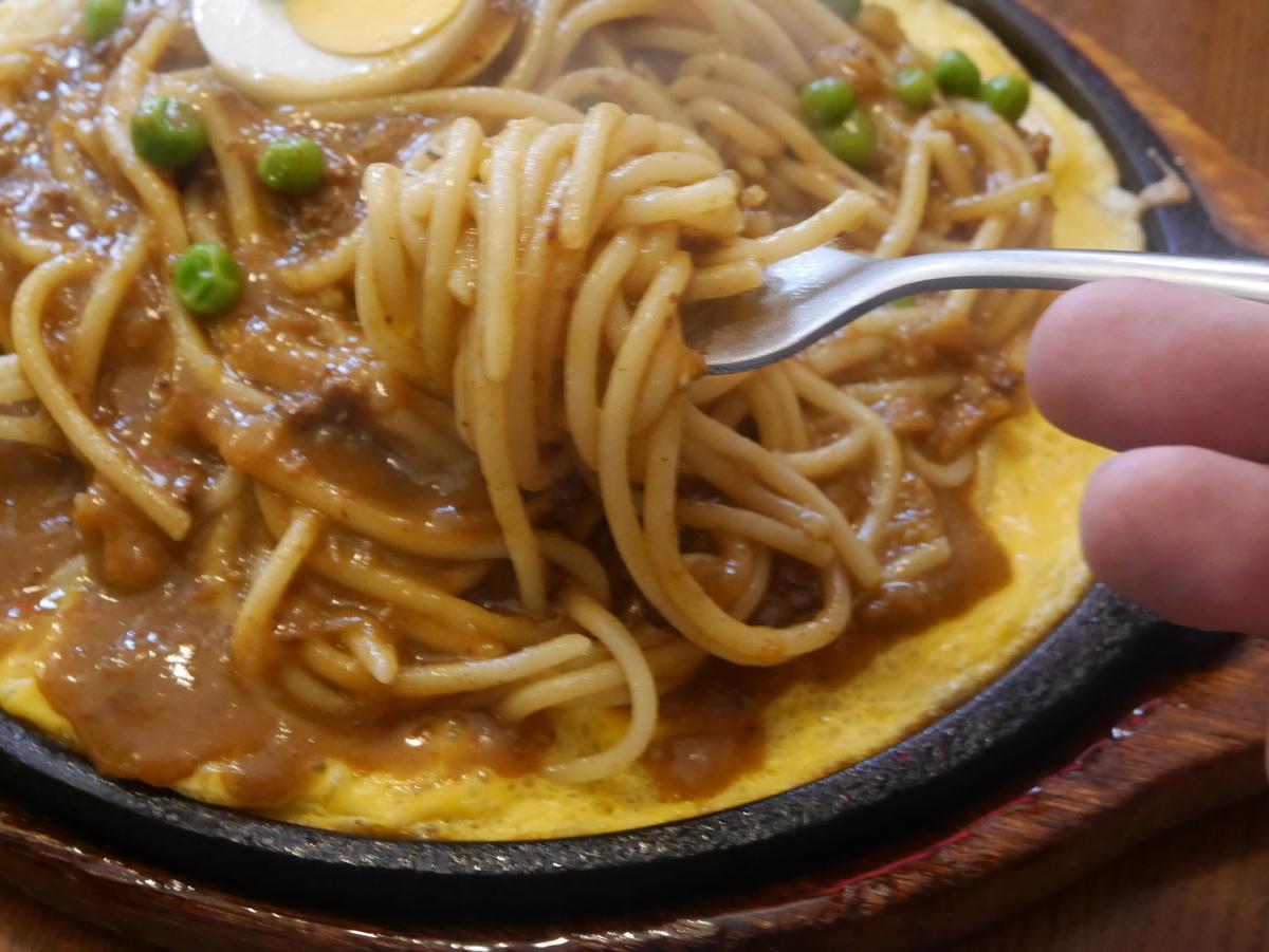 名古屋の久屋大通・高岳エリアにあるスパゲッティとハンバーグのお店はせ家の鉄板スパゲッティインディアン