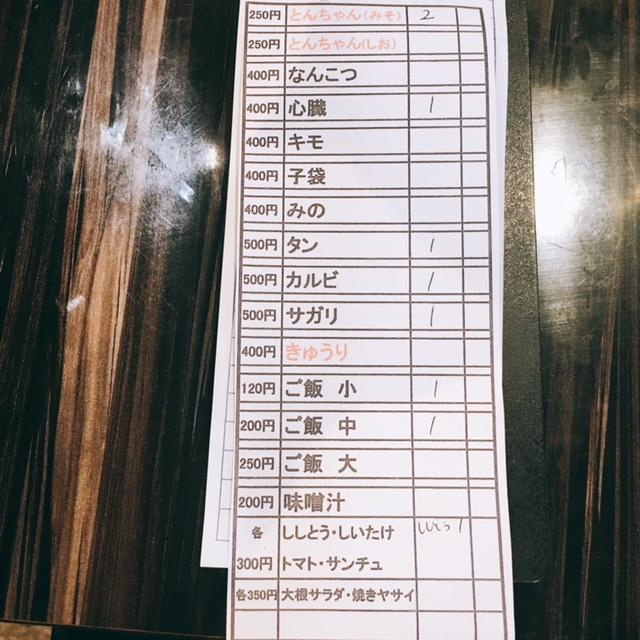 名古屋市大須にあるとんちゃんやふじのメニュー