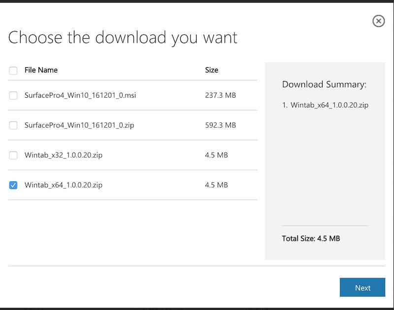 Surface Pro 4 Wintab ダウンロード