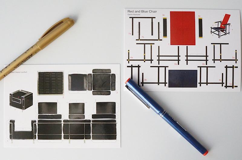 北欧雑貨/北欧/ポストカード/コルビュジェ/LC2/アート雑貨/紙模型/インテリア