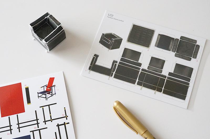 北欧雑貨/北欧/ポストカード/コルビュジェ/LC2/アート雑貨/紙模型/インテリア/雑貨