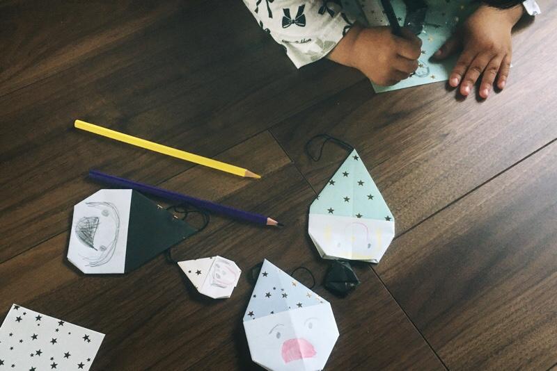 折り紙,三角帽子の小人