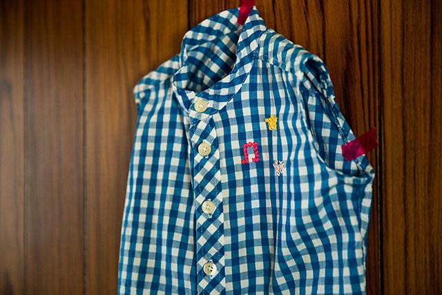 キッズ用ギンガムチェックシャツリメイククロスステッチ刺繍