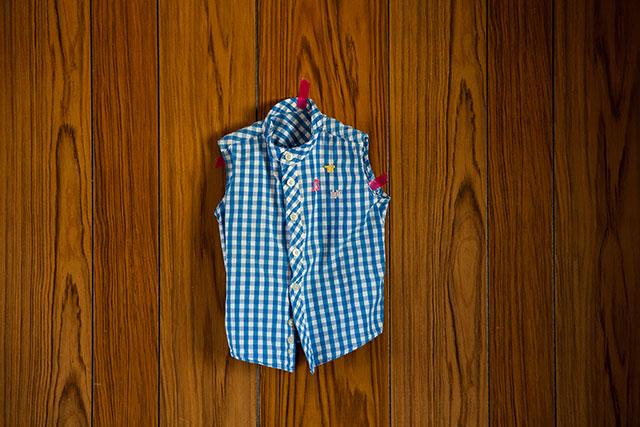 子ども用ギンガムチェックシャツリメイク