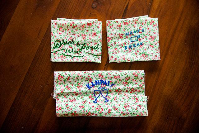 ランチョンマットときんちゃく袋に刺繍