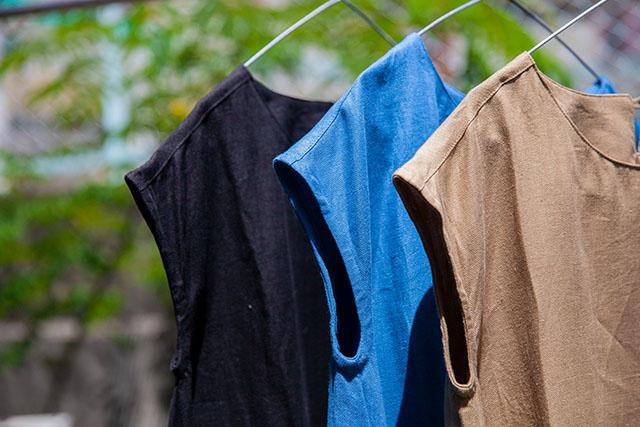 リネンワンピースカラー展開3色ブラック,ブルー,キャメル