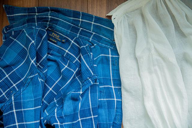 シャツの裏の縫製,折りふせ縫い