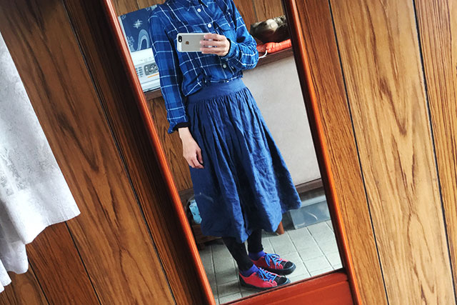リメイク,カシュクールワンピースからギャザースカート着用画像