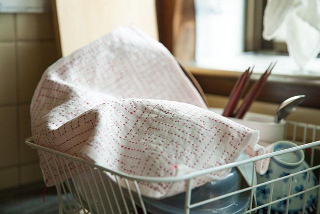 刺し子,花ふきん,紗綾型,手作り