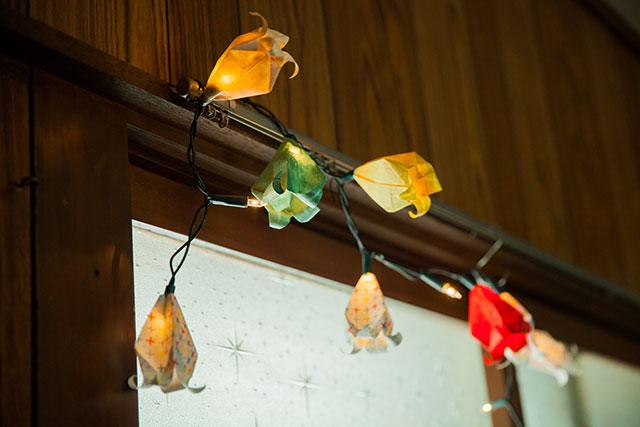 ガーランド,イルミネーションライト,ベルフラワー,折り紙アレンジ