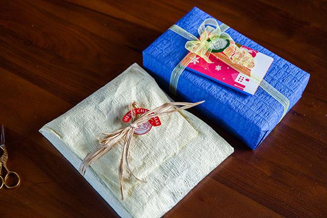 クリスマスプレゼントラッピング,竹皮包み風,キャラメル包み