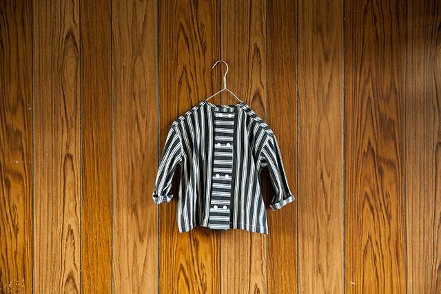 コックさん風ブラウス,手作り子供服,ストライプ柄