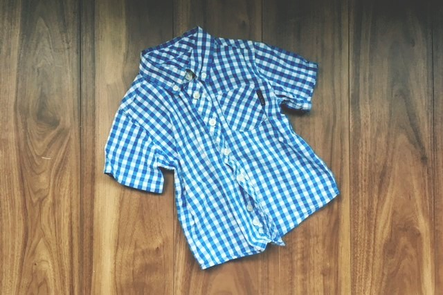 子ども用半袖ギンガムチェックシャツ