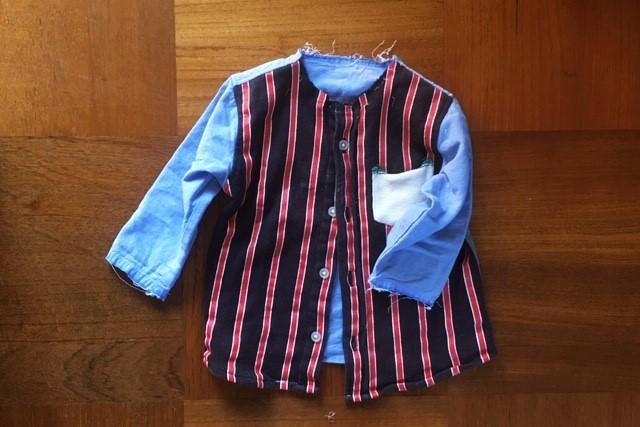 西松屋ボタンダウンシャツ90サイズ,リメイク途中
