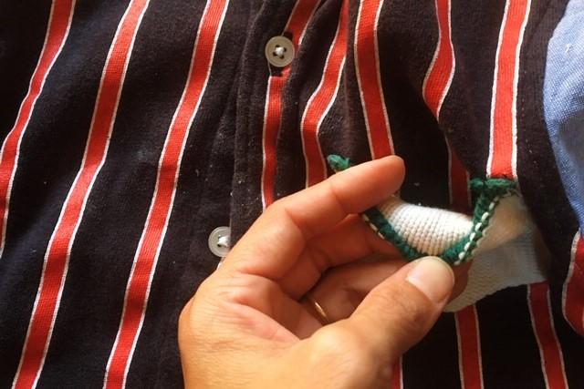 西松屋ボタンダウンシャツ90サイズ,リメイク胸ポケット裏