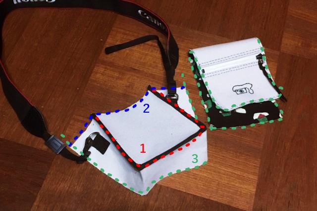 デジカメポーチの作り方,バイアステープを付ける順番