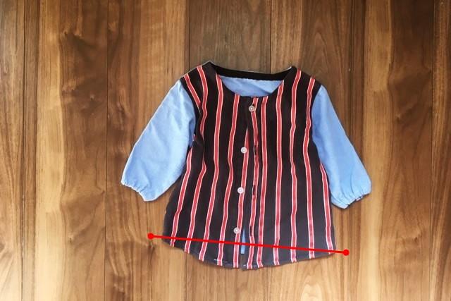西松屋ボタンダウンシャツ90サイズ,リメイク,身ごろ裾上げ