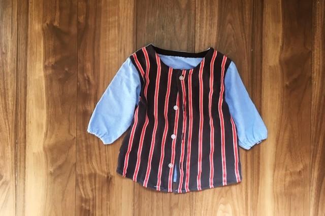 西松屋ボタンダウンシャツ90サイズ,リメイク完成,スモック