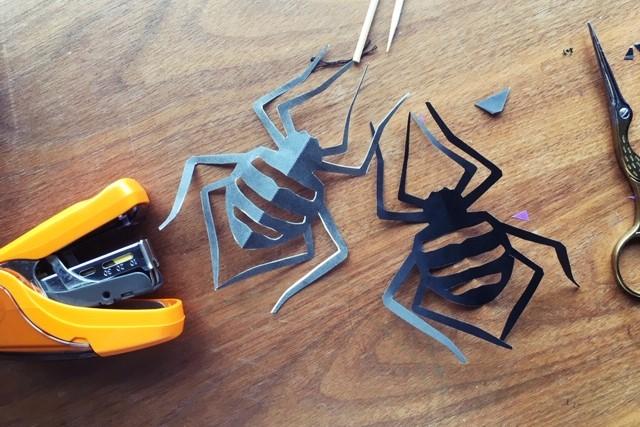切り紙クモ完成,図案,今森光彦
