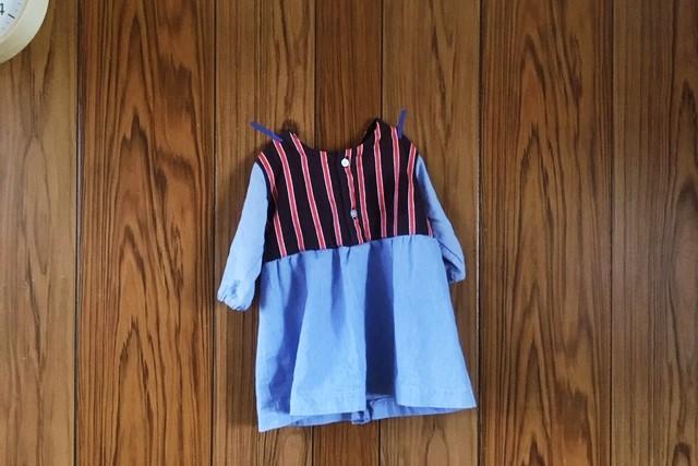 子供服リメイク-スモックからワンピース
