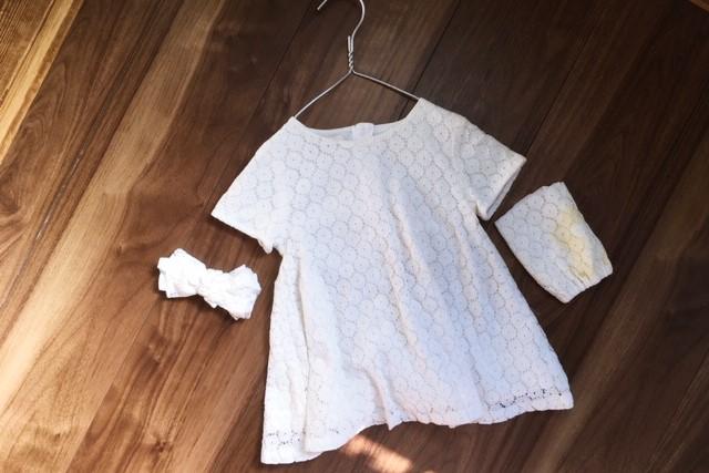 女の子服80サイズ白レース袖汚れリメイク