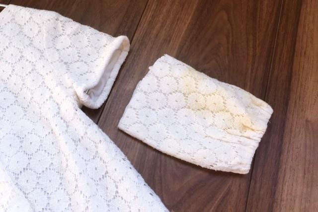 女の子服80サイズ白レース袖汚れ